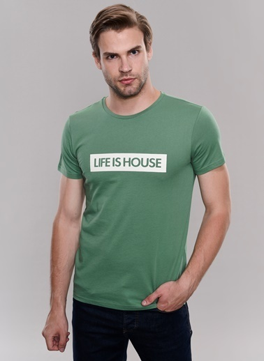People By Fabrika Baskılı Tişört Yeşil